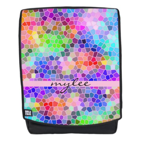 Mosaic Colorful Rainbow Pink Blue Abstract Funky Backpack