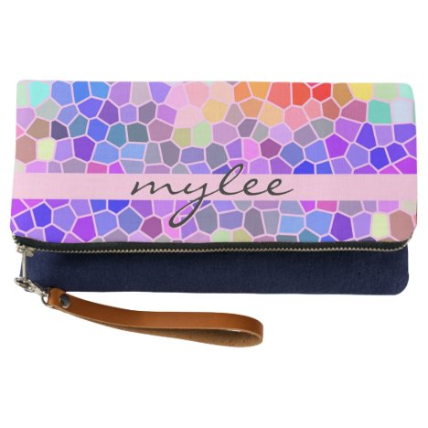 Mosaic Colorful Rainbow Pink Blue Abstract Funky Clutch