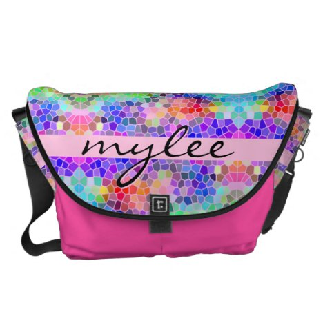 Mosaic Colorful Rainbow Pink Blue Abstract Funky Courier Bag
