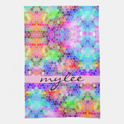 Mosaic Colorful Rainbow Pink Blue Abstract Funky Hand Towel