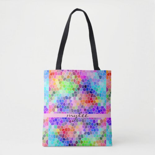 Mosaic Colorful Rainbow Pink Blue Abstract Funky Tote Bag