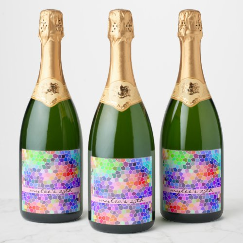 Mosaic Colorful Rainbow Pink Monogram Abstract Champagne Label