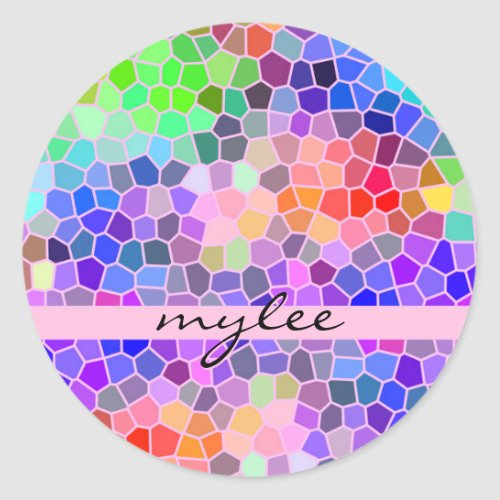 Mosaic Colorful Rainbow Pink Monogram Abstract Classic Round Sticker