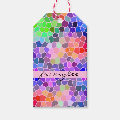 Mosaic Colorful Rainbow Pink Monogram Abstract Gift Tags