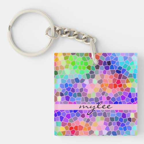 Mosaic Colorful Rainbow Pink Monogram Abstract Keychain