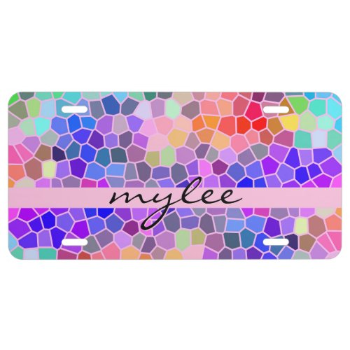Mosaic Colorful Rainbow Pink Monogram Abstract License Plate