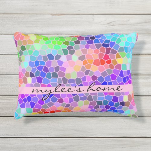 Mosaic Colorful Rainbow Pink Monogram Abstract Outdoor Pillow