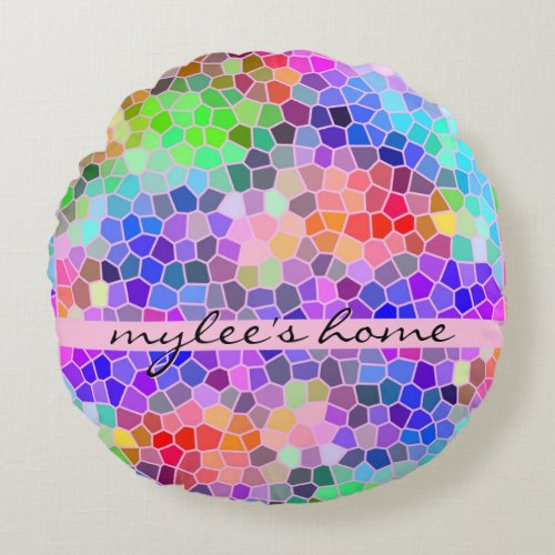 Mosaic Colorful Rainbow Pink Monogram Abstract Round Pillow