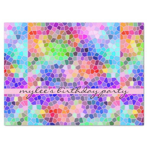 Mosaic Colorful Rainbow Pink Monogram Abstract Tissue Paper