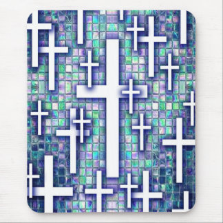 Mosaic cross pattern in blue and purple tones. mouse pad