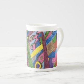 """""""Mosaic Cross Roads"""" Abstract Art Bone China Mug"""