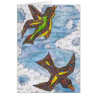 Mosaic Curly Birds Card