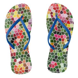 Mosaic Design Adult, Slim Straps Flip Flops