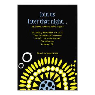 "MOSAIC DOVE of PEACE Bat Mitzvah Reception Card 3.5"" X 5"" Invitation Card"