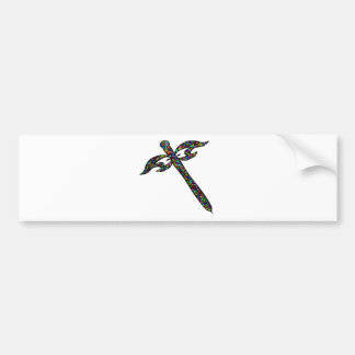Mosaic Dragonfly Bumper Sticker