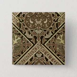 Mosaic ecclesiastical wallpaper design pinback button