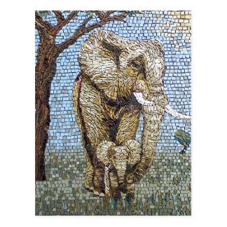 Mosaic elephant postcard
