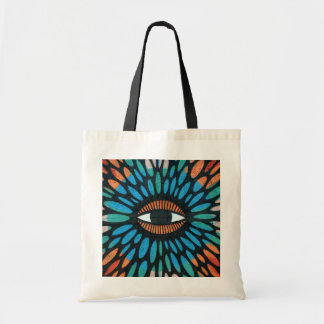 Mosaic Eye in Blue and Orange Background Tote Bags