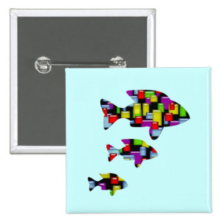 mosaic fish 2 inch square button