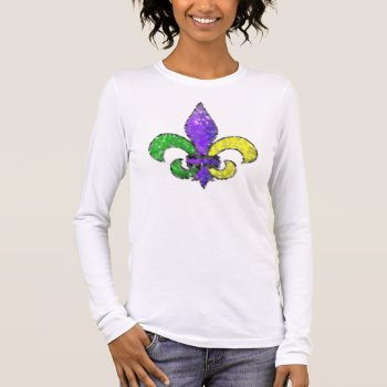 Mosaic Fleur-de-lis Long Sleeve T-shirt by HolidayBug at Zazzle