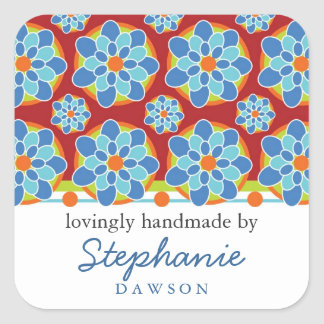 """Mosaic, Floral Pattern """"Handmade by"""" Labels Square Sticker"""