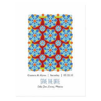 Mosaic Floral Save the Date Postcards