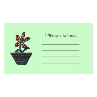 Mosaic Flower I like you because Business Cards