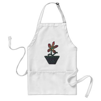 Mosaic flower in red and orange in a pot, aprons