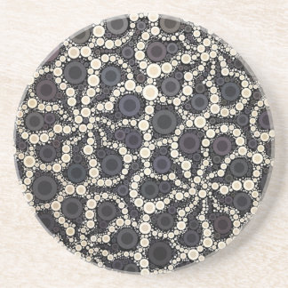 Mosaic Flower Petals Black Brown Tan Drink Coasters