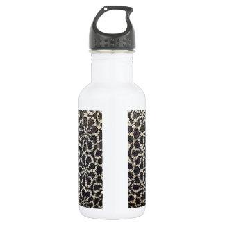 Mosaic Flower Petals Black Brown Tan 18oz Water Bottle
