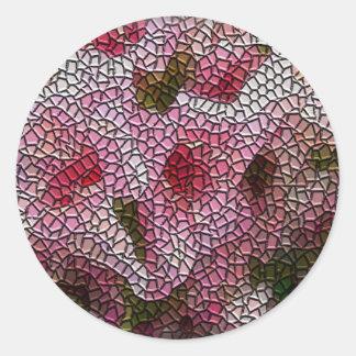 Mosaic Flowers Envelope Seals Classic Round Sticker