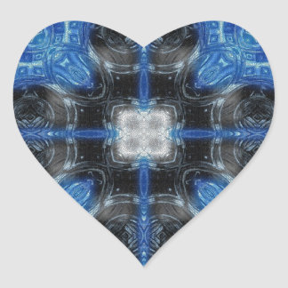 Mosaic Fractal 40 Heart Sticker