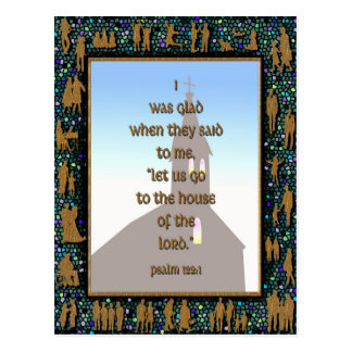 Mosaic Framed Bible Verse Gold People Silhouettes Postcard
