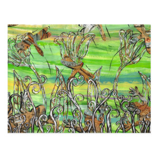 Mosaic Frogs and Dragonflies Postcard