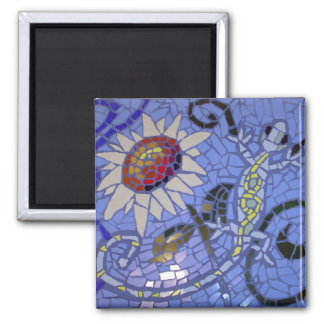Mosaic Gecko and Sunflower on Blue Magnet