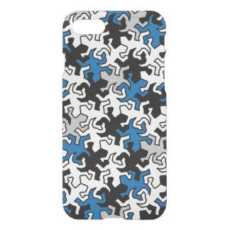 Mosaic Geckos Pattern - blue black white grey iPhone 8/7 Case