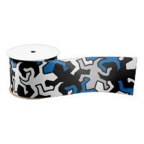 Mosaic Geckos Pattern - blue black white grey Satin Ribbon