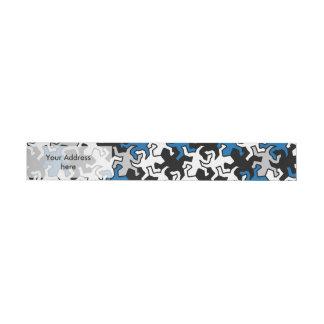 Mosaic Geckos Pattern - blue black white grey Wrap Around Address Label