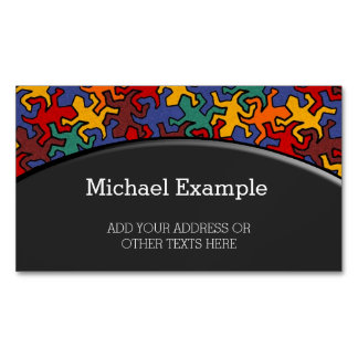 Mosaic Geckos Pattern - Earth Color Business Card Magnet