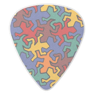 Mosaic Geckos Pattern - Earth Color White Delrin Guitar Pick