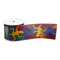 Mosaic Geckos Pattern - Earth Color Satin Ribbon