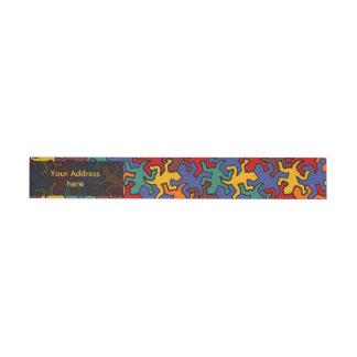 Mosaic Geckos Pattern - Earth Color Wraparound Address Label