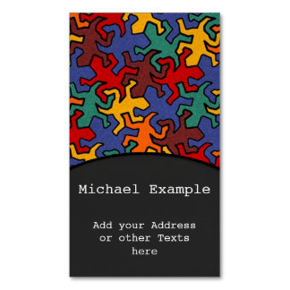 Mosaic Geckos Pattern - Earth Color Magnetic Business Cards (Pack Of 25)