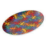 Mosaic Geckos Pattern - earth colored Porcelain Serving Platter