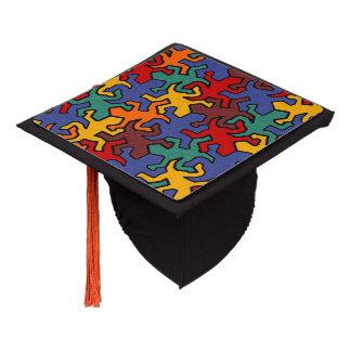 Mosaic Geckos Pattern - earth colored Graduation Cap Topper