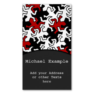 Mosaic Geckos Pattern - red black white Magnetic Business Cards (Pack Of 25)