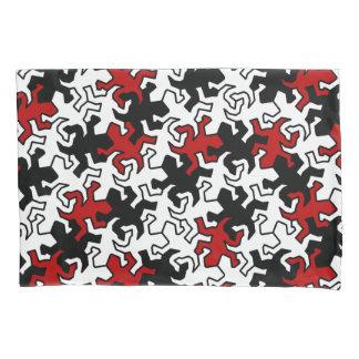 Mosaic Geckos Pattern - red & blue black white Pillowcase