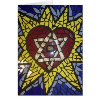 Mosaic Glowing Heart Star of David on Blue Card