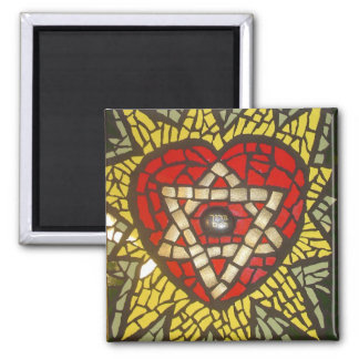 Mosaic Glowing Heart Star of David on Green 2 Inch Square Magnet