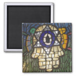 Mosaic Gold Hamsa with Star and Evil Eye Refrigerator Magnet